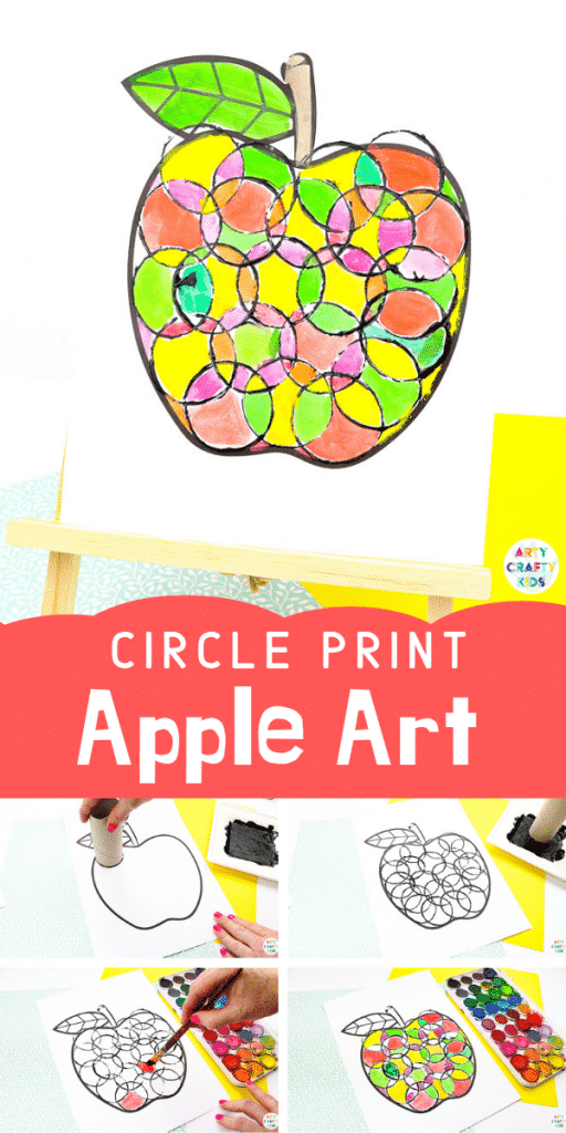Arty Crafty Kids | Back to School Circle Print Apple Craft | A fun and simple back to school apple craft for kids, with a printable apple template #artycraftykids #autumncraft