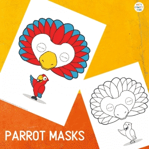 Printable Parrot Masks for Kids. The animal masks are available in black and white for colouring, and full colour.