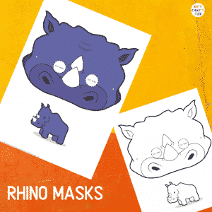 Printable Rhino Masks for Kids. The animal masks are available in black and white for colouring, and full colour.