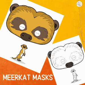 Printable Meerkat Masks for Kids. The animal masks are available in black and white for colouring, and full colour.