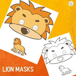 Printable Lion Masks for Kids. The animal masks are available in black and white for colouring, and full colour.