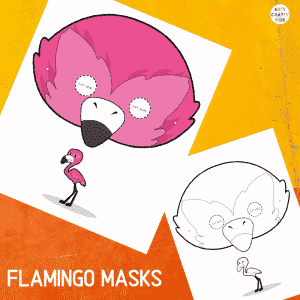 Printable Flamingo Masks for Kids. The animal masks are available in black and white for colouring, and full colour.