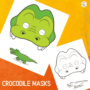 Printable Crocodile Masks for Kids. The animal masks are available in black and white for colouring, and full colour.
