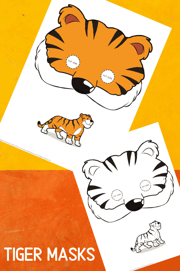 Tiger Face Masks for Kids to colour and make!