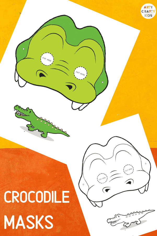 Crocodile Face Masks for Kids to colour and make!