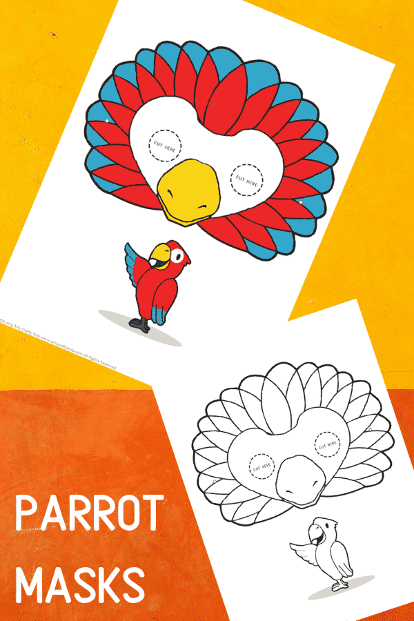 Parrot Face Masks for Kids to colour and make!