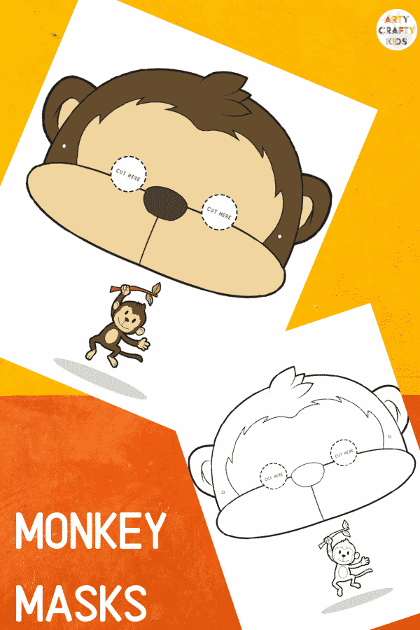 Printable Monkey Masks for Kids. The animal masks are available in black and white for colouring, and full colour.