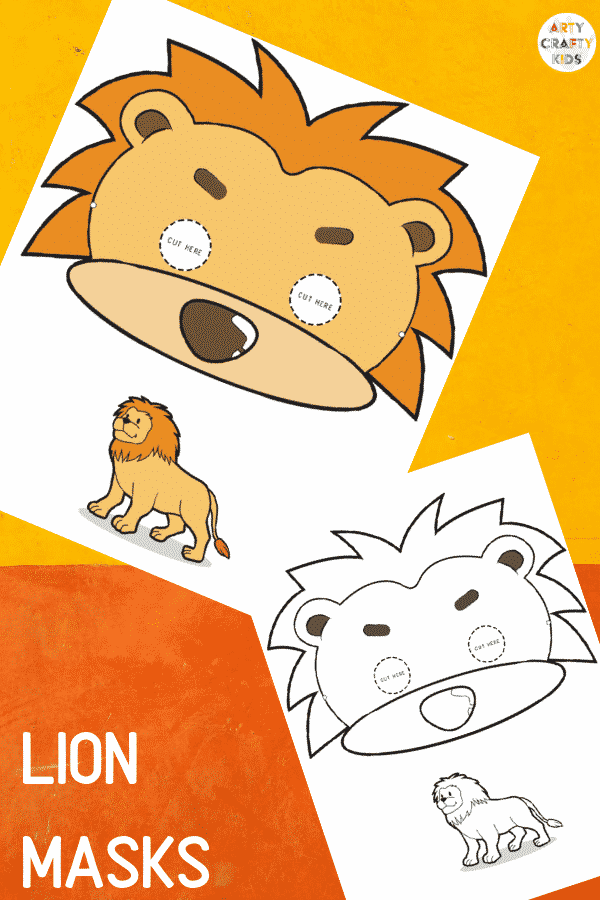 Lion Face Masks for Kids to colour and make!
