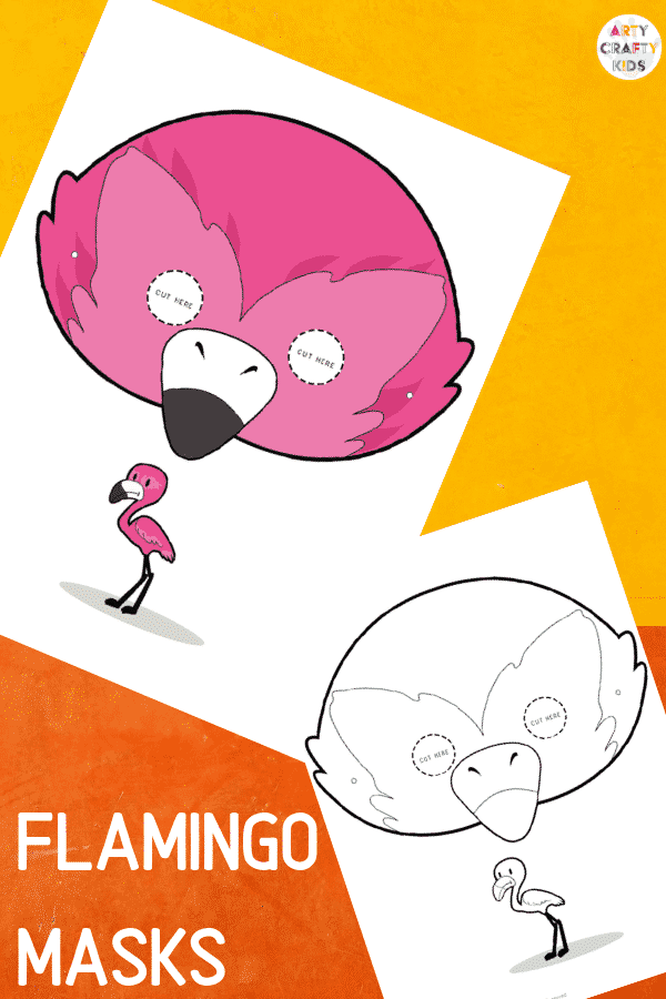 Flamingo Face Masks for Kids to colour and make!
