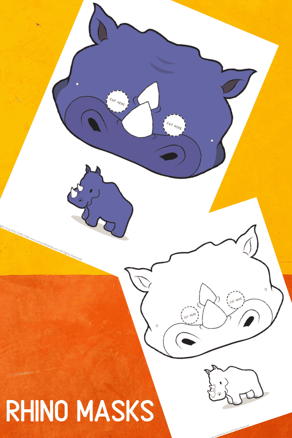 Rhinoceros Face Masks for Kids  to print and colour!