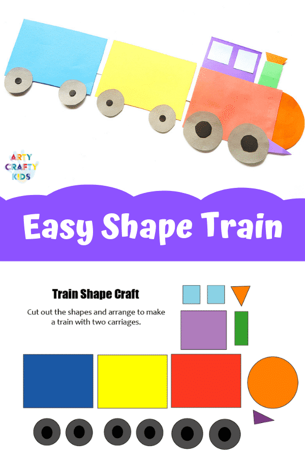 picture regarding Train Template Printable called Uncomplicated Coach Form Craft for Youngsters Arty Cunning Children