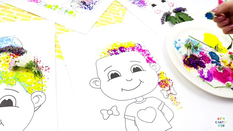 Flower Painting Hair Design - Nature Craft for Kids  A fun and tactile art and craft idea for kids. Use the nature printable templates to create crazy hair styles with flower printing and nature #nature  #naturecrafts #craftsforkids
