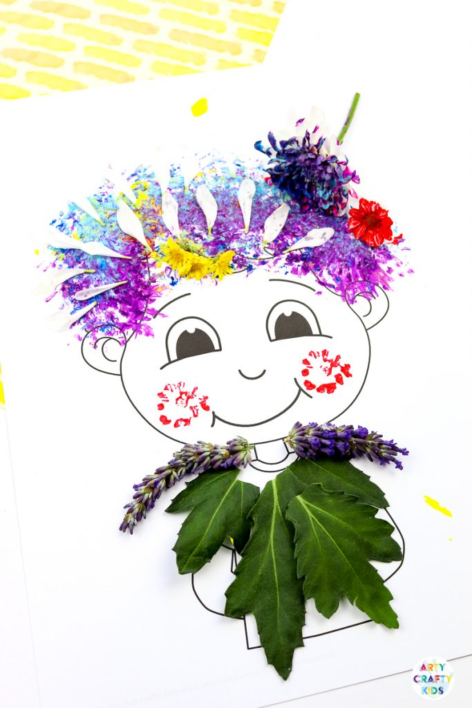 Flower Painting Hair Design - Nature Craft for Kids| A fun and tactile art and craft idea for kids. Use the nature printable templates to create crazy hair styles with flower printing and nature #nature  #naturecrafts #craftsforkids