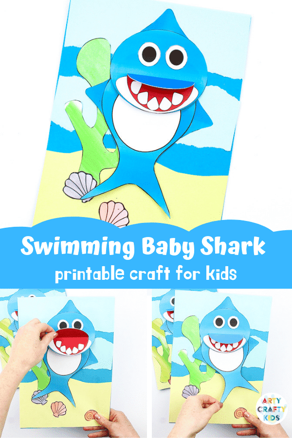 photograph about Shark Printable identified as Swimming Little one Shark Craft Arty Cunning Children