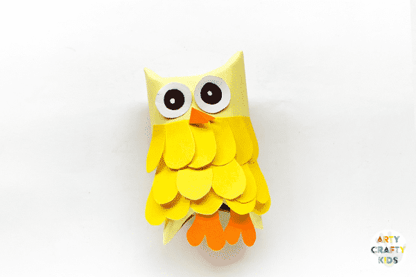 Completing the Toilet Paper Roll Owl.