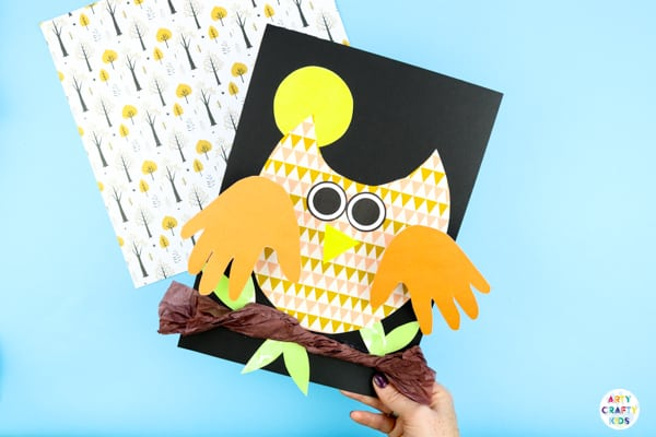 Arty Crafty Kids | Bobble Handprint Owl Craft for kids. An easy  Autumn craft kids will love with interactive handprint wings.