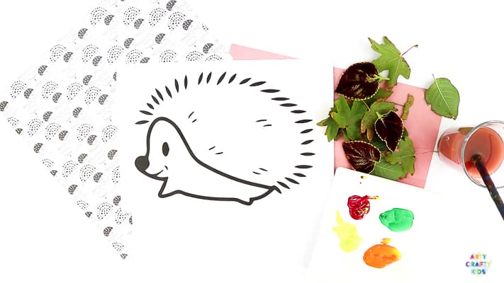Fall Craft for Kids. Hedgehog Template for Autumn Leaf Printing.