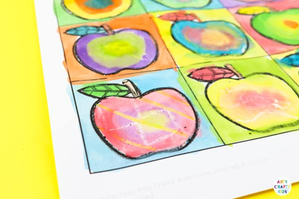 Arty Crafty Kids | Kandinsky Inspired Apple Art for Kids. A fun and playful early Autumn art and craft project for kids. Perfect for studying colour creation.