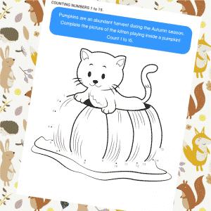 Dot to Dot Kitten Pumpkin Play