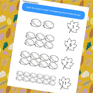 Colour and Count Hedgehog Activity Page