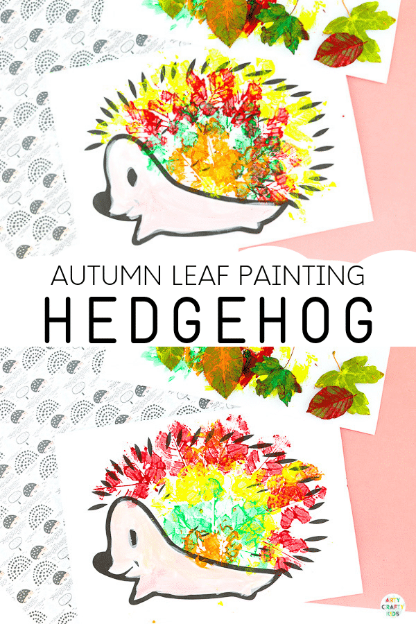 Arty Crafty Kids | Hedgehog Fall Leaf Painting - An easy fall craft for kids that explores Autumn leaf printing.  The Craft can be completed with a printable hedgehog template.