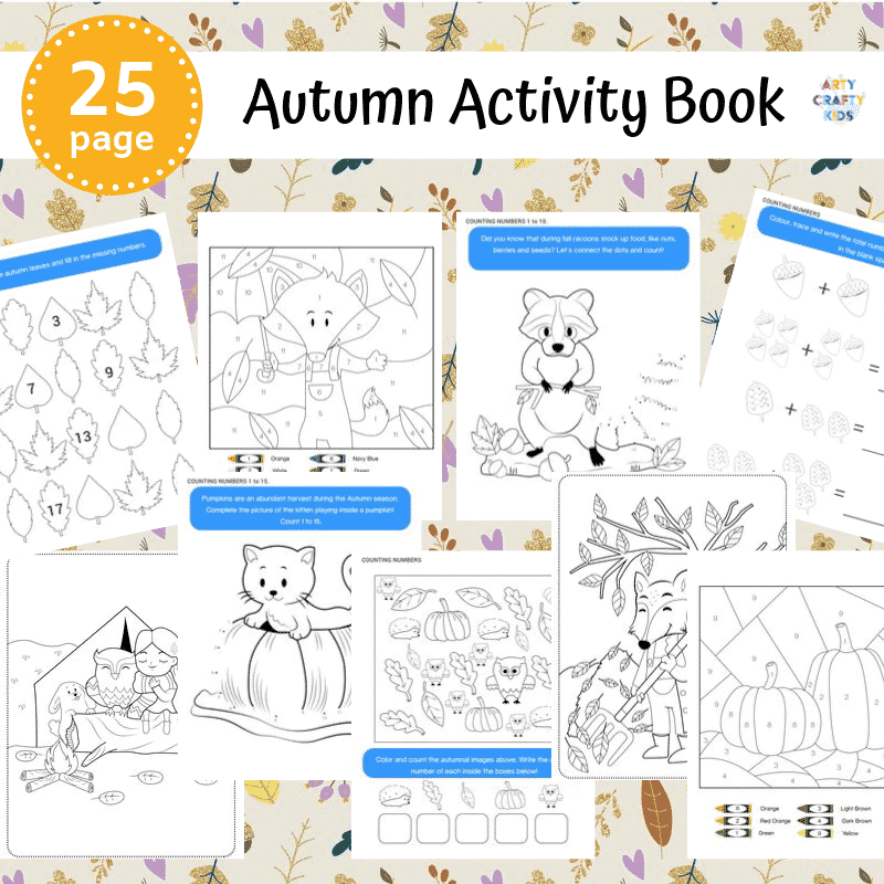 Printable Autumn Activity Book for kids. A collection of fall worksheets designed to support line and number work.
