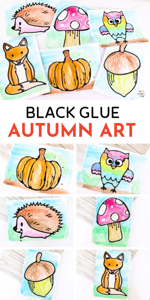 Arty Crafty Kids | Black Glue Fall Art Projects for kids. A fun and easy Autumn art project that kids will love, with printable Autumn templates available .