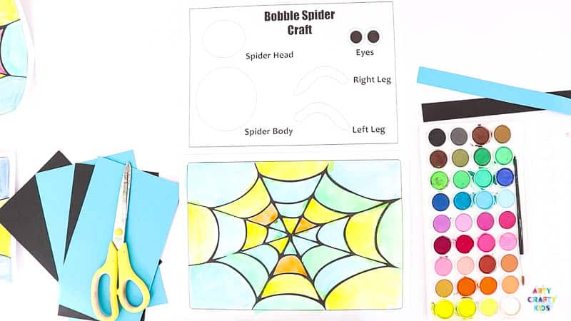 Colourful printable spider web.