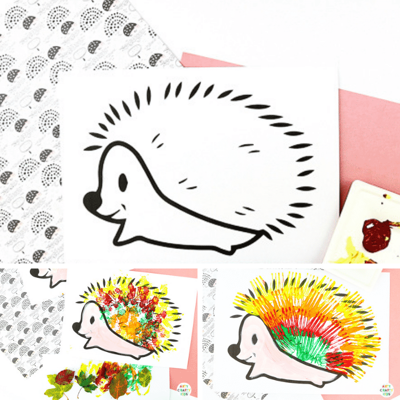 Arty Crafty Kids | Hedgehog Fall Leaf Craft - An easy fall craft for kids that explores Autumn leaf printing.  The Craft can be completed with a printable hedgehog template.