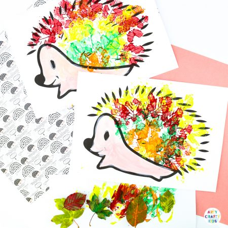 Arty Crafty Kids | Hedgehog Fall Leaf Craft - An easy fall craft that explores autumn leaf printing