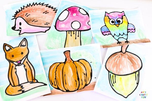Autumn Black glue art for Kids.