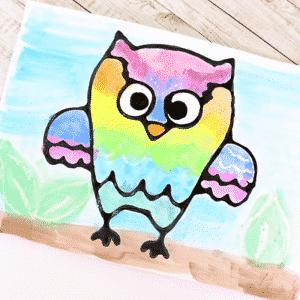 Owl Black Glue Resist Art