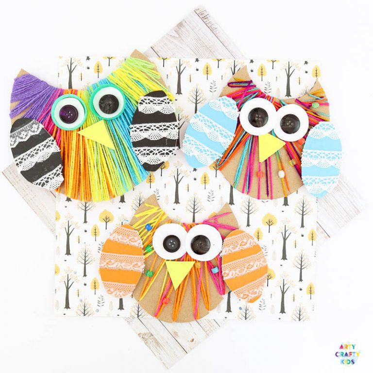 Yarn Wrapped Owl Craft for kids to make