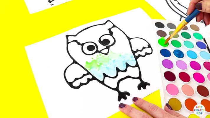 Black Glue Owl Art Projects for Kids