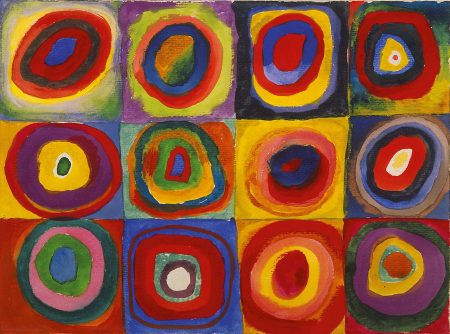 Heart Art Projects inspired by Kadinsky's Squares with Concentric Circles