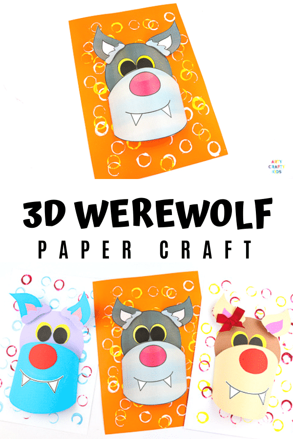 Arty Crafty Kids | 3D Paper Wolf Craft for kids to make. Perfect for Winter Animal craft topic or as a Werewolf for Halloween. Either way, kids will love this 3D playful paper craft.