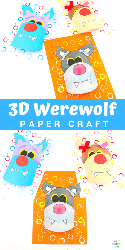 Arty Crafty Kids | 3D Paper Wolf Craft for kids to make. Perfect for a Winter Animal craft topic or as a Werewolf for Halloween. Either way, kids will love this 3D playful paper craft that encourages children to experiment with shapes.
