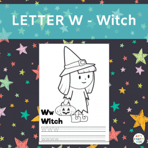 Letter W - Witch - Writing Practice for Preshoolers and children in early years education