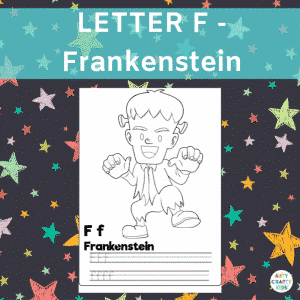 Letter F - Frankenstein - Letter writing practice for preschoolers and children in early years education.