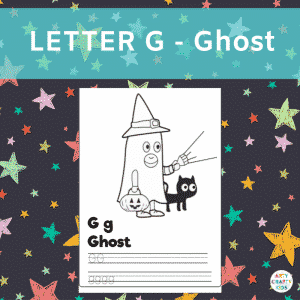 Letter G - Ghost - Writing practice for preschoolers and children in early years education.