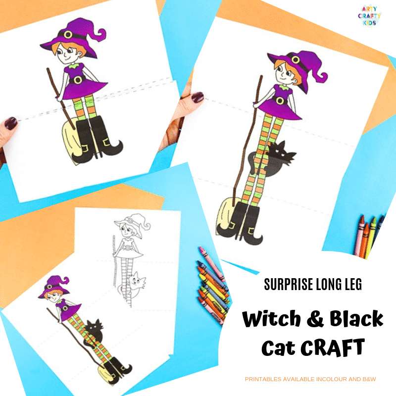 Arty Crafty Kids | Surprise Witch Printable Craft for Halloween. A fun and easy paper toy for kids. Extend the paper the reveal with the witch's best friend.