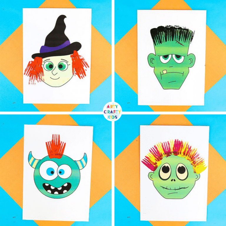 Arty Crafty Kids   Fork Painted Monster Hair - Halloween Crafts for Kids. Children can complete the monster templates (available in colour and black & white) using different painting techniques.