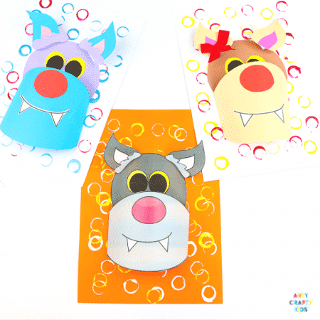 3D Paper Wolf Craft for kids to make. Perfect for a Winter Animal craft topic or as a Werewolf for Halloween. Either way, kids will love this 3D playful paper craft that encourages children to experiment with shapes #kidscrafts #papercraft #easycrafts