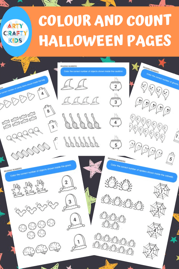 This 25 Page Halloween Printable Activity Book for Kids includes: Dot to dot pages, colouring pages, counting and tracing worksheets, and colour by number!