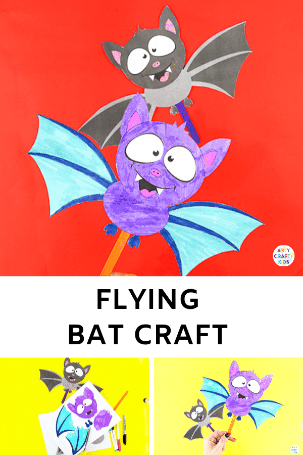Arty Crafty Kids | Halloween Crafts | Easy Paper Bat Craft for Kids. Create a flying bat paper toy -  an easy and fun craft for Halloween.