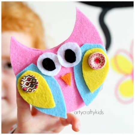 No Sew Felt Owl Finger Puppets. Beautiful and easy to make!