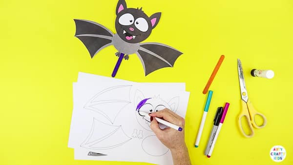 Halloween Crafts for Kids | Colour in the paper bat template.