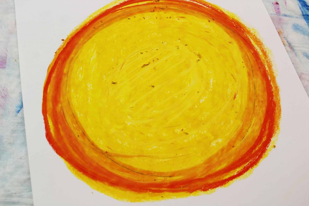 Arty Crafty Kids | Create a moon for our bat silhouettes using yellow and orange oil pastels.