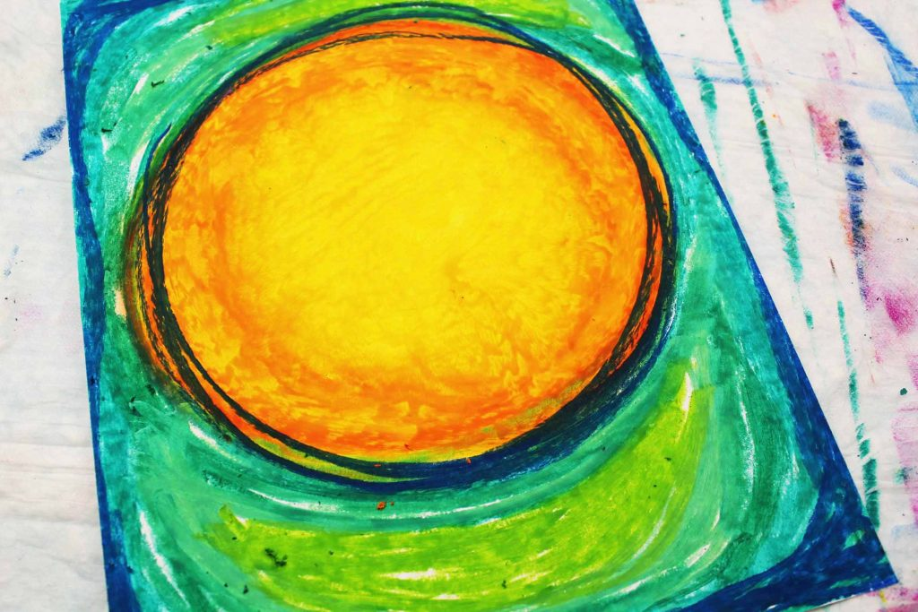 Arty Crafty Kids   Use a black oil pastel to add emphasis to the moon.