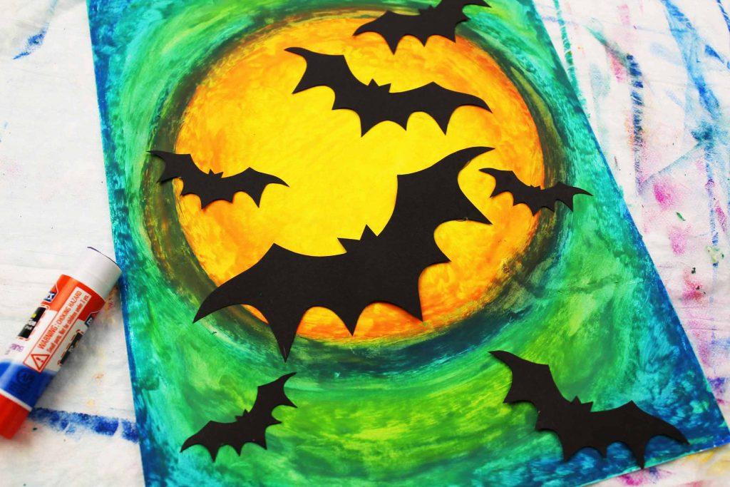 Arty Crafty Kids | Oil Pastel Bat Silhouette Art for Kids